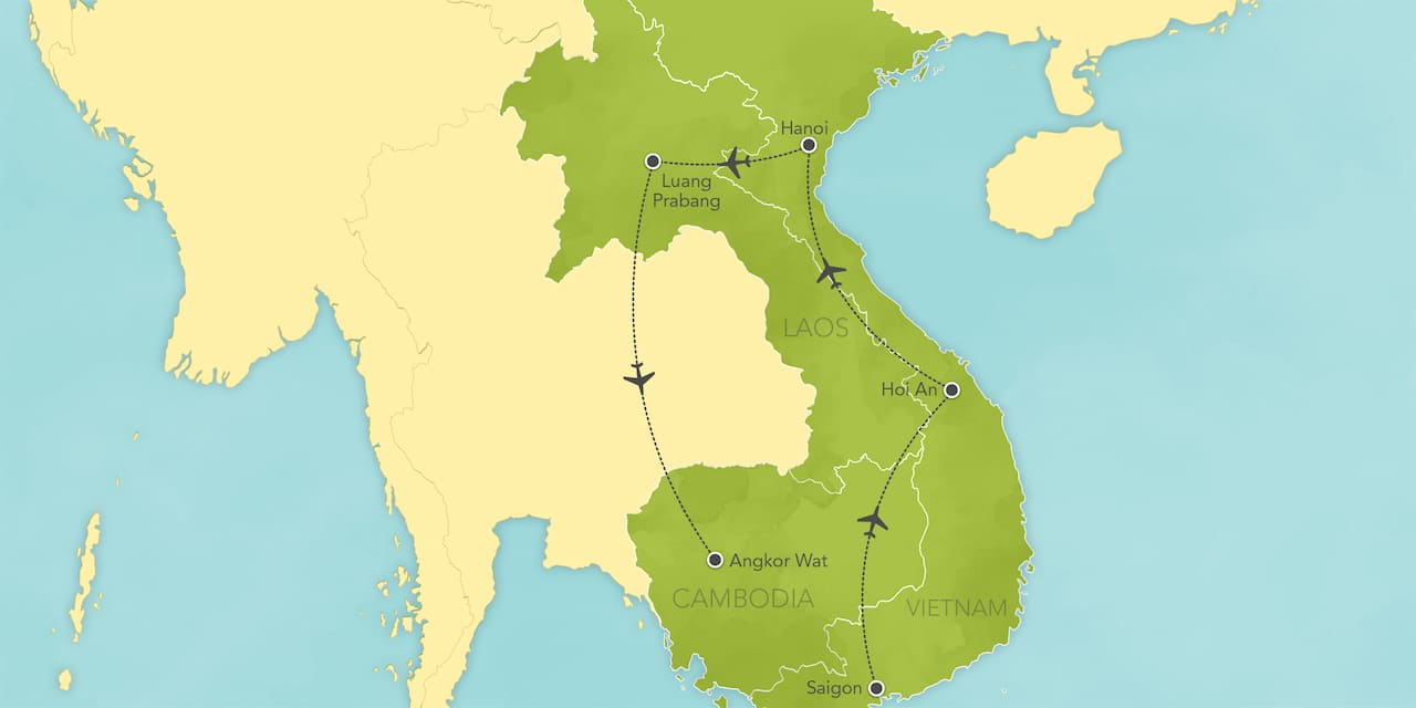 Interactive map of Vietnam, Laos and Cambodia, showing a summary of each day's activities.
