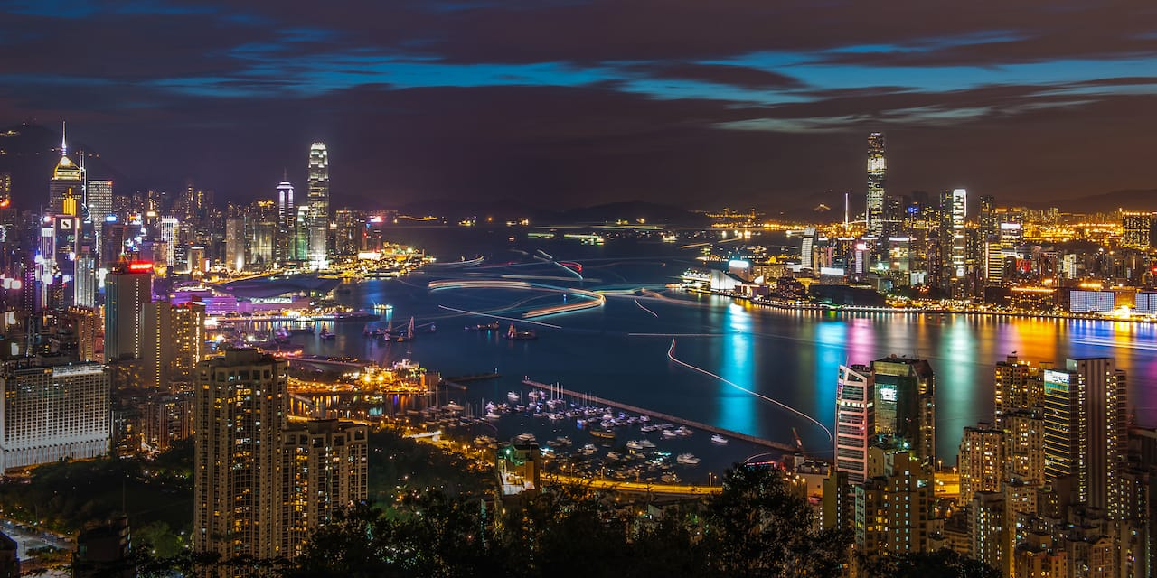The skyline of Hong Kong and its spectacular harbour at night