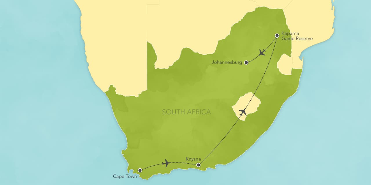 Interactive map of South Africa, showing a summary of each day's activities.