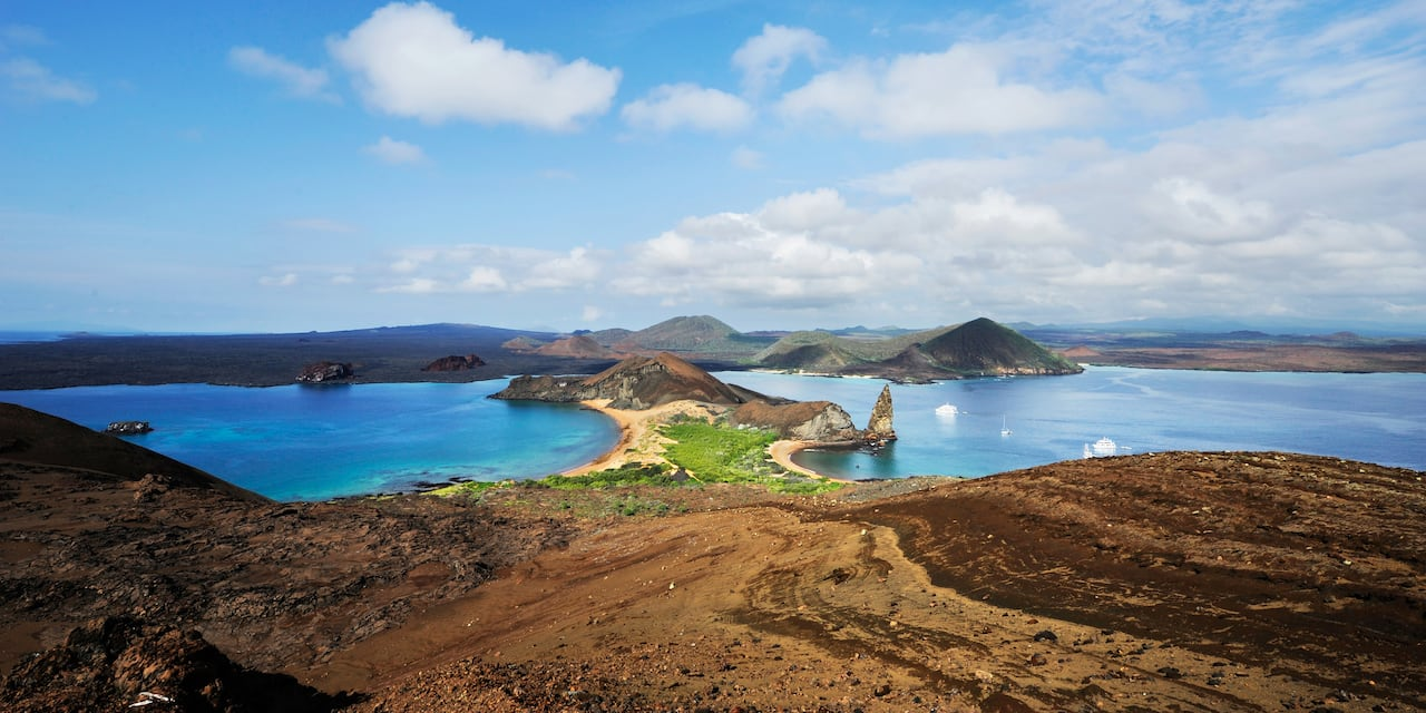 The hilly shores of an island