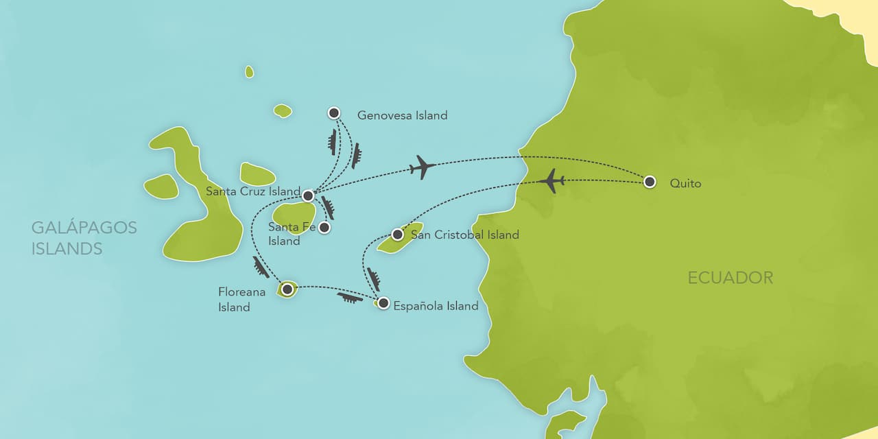 Interactive map of Ecuador and the Galápagos Islands, showing a summary of each day's activities.
