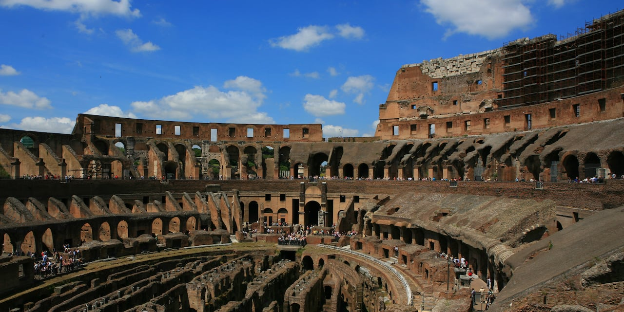 The interior of the Colosseum in Rome, Italy