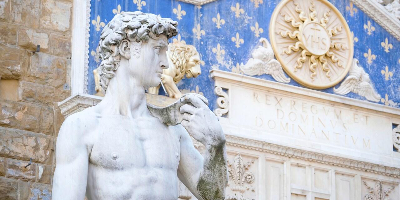 A replica of Michelangelo's David outside the Palazzo Vecchio in Florence, Italy