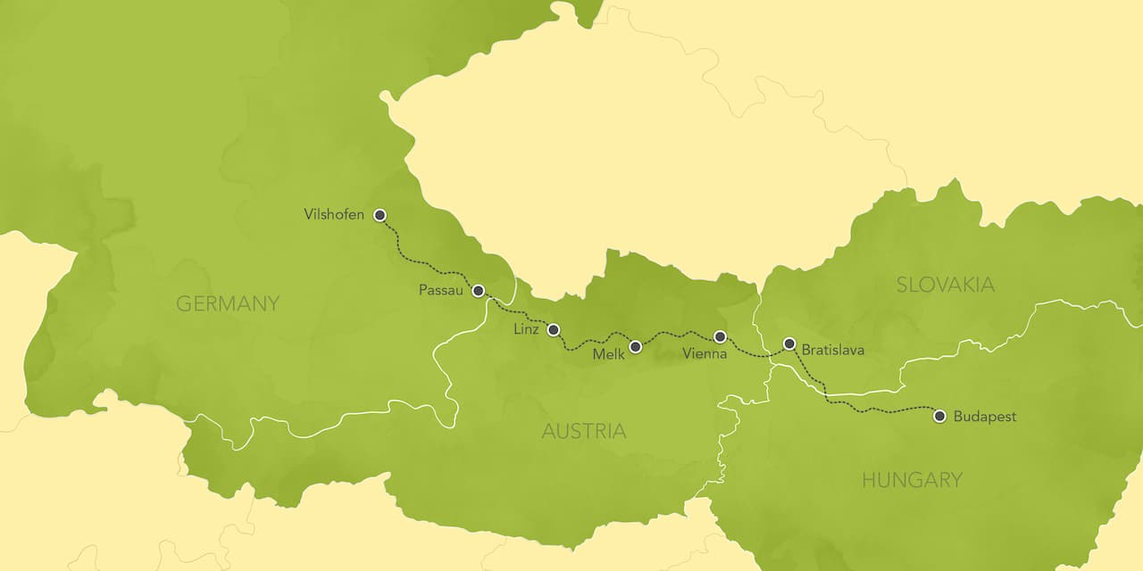 Interactive map ofthe Danube River, showing a summary of each day's activities.