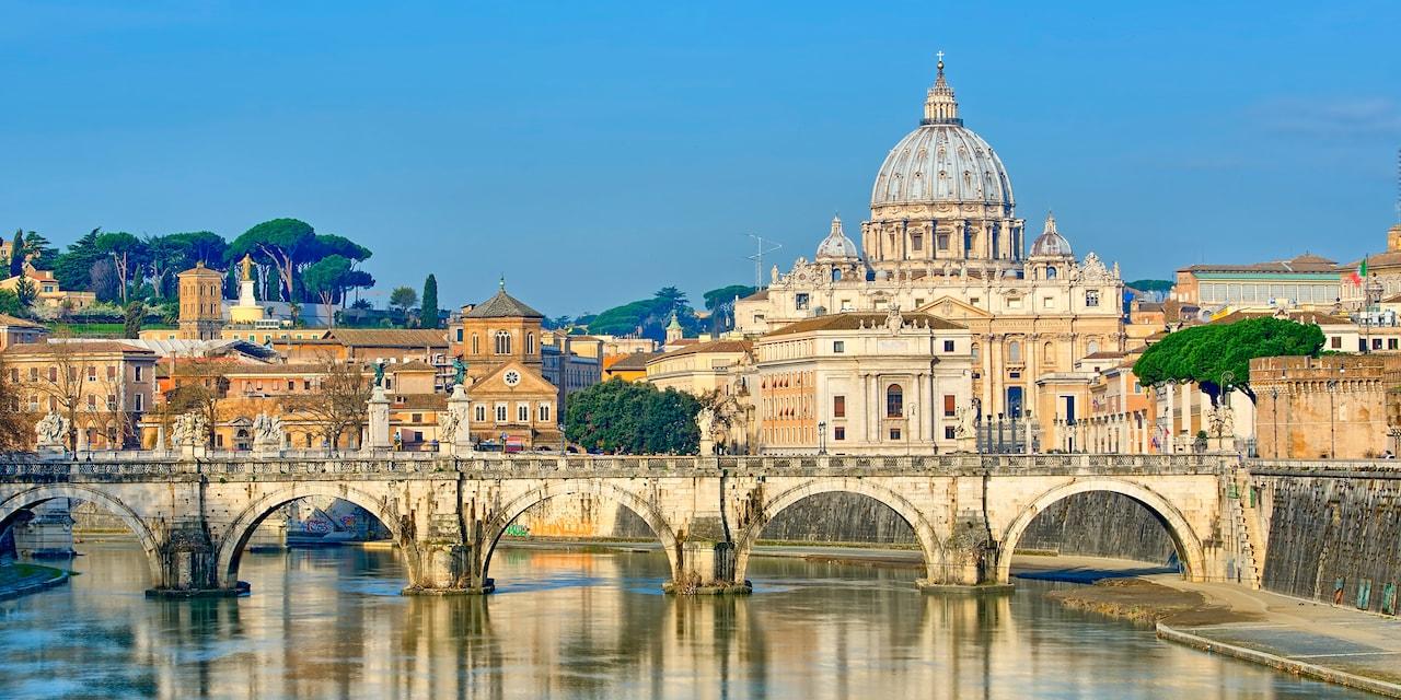 St. Peter's Basilica next to the River Tiber