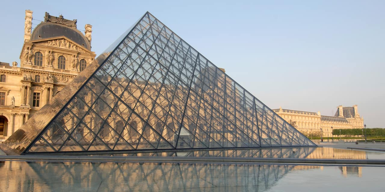 Outside the Louvre in Paris, France