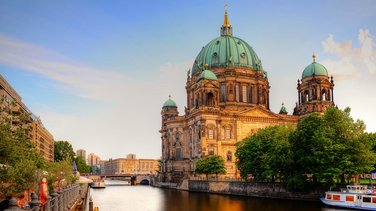 The domed Berlin Cathedral in the Mitte borough, bordered on one side by the Spree River