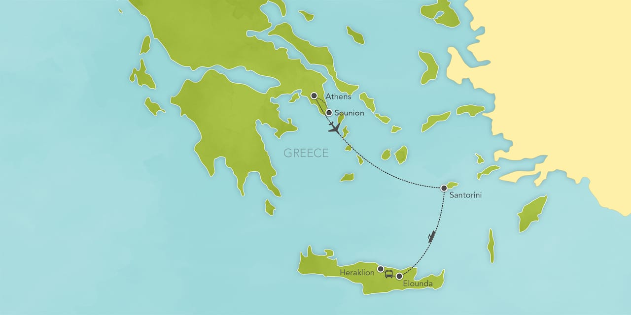 Interactive map of Greece, showing a summary of each day's activities.
