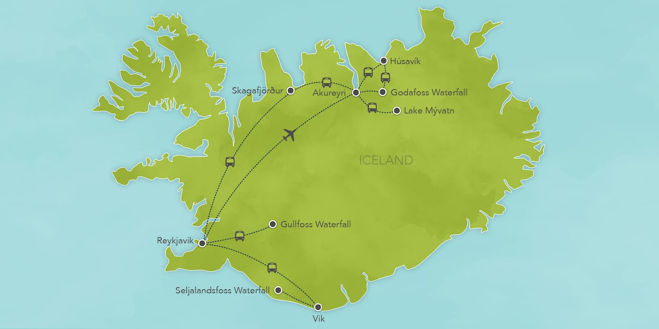 Interactive map of Iceland, showing a summary of each day's activities.
