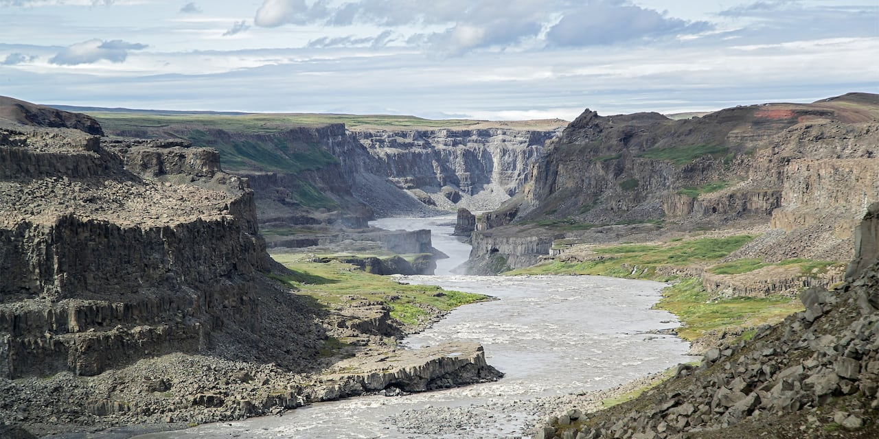The rocky terrain of Skagafjörður, a glacial river canyon