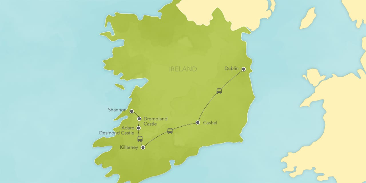 Interactive map ofIreland, showing a summary of each day's activities.