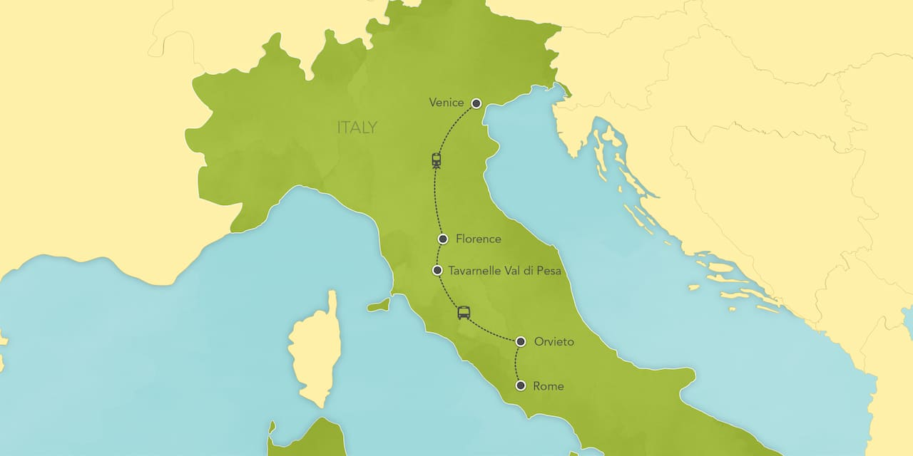 Interactive map of Italy, showing a summary of each day's activities.