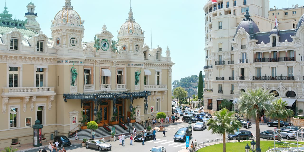 The entrance to the Monte Carlo Casino in Monaco with its ornate spires and clock tower