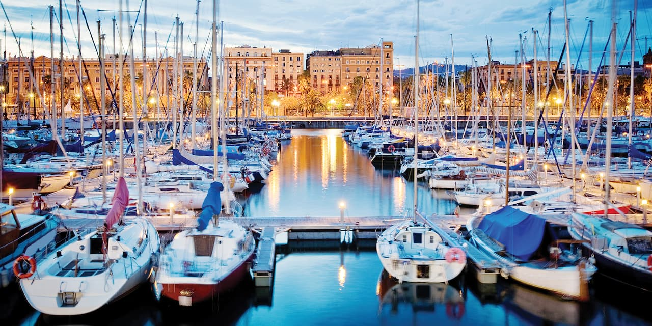 Sailboats docked in the port of Barcelona