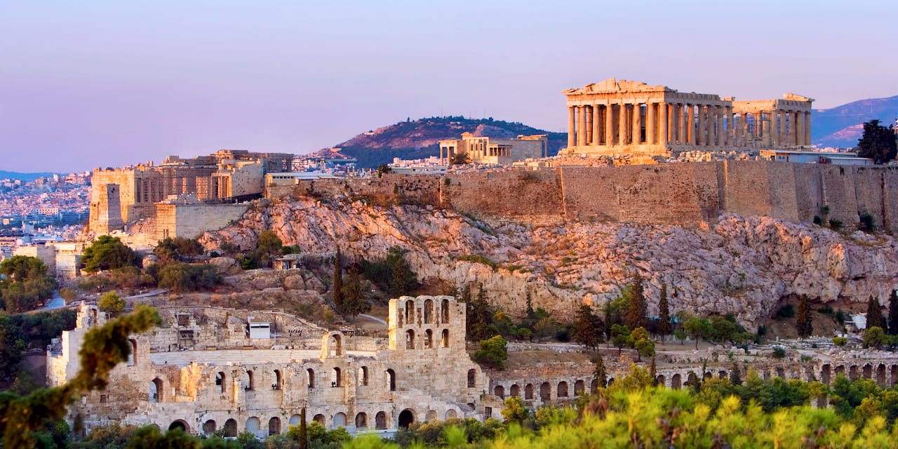 The Parthenon and other ancient ruins atop the Acropolis in Athens, Greece