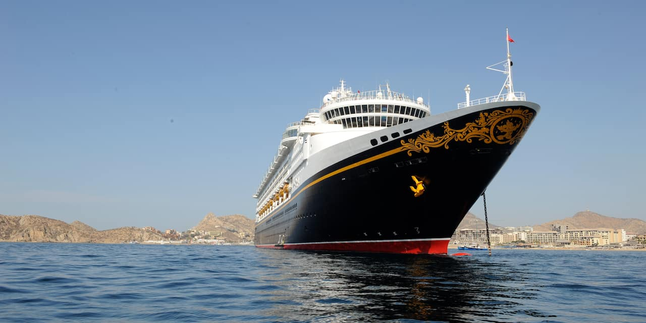 The Disney Magic cruise anchored in the sea