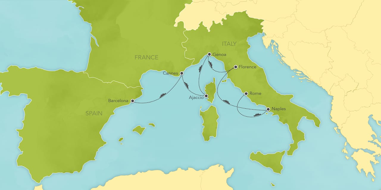 Interactive map ofthe Mediterranean, showing a summary of each day's activities.