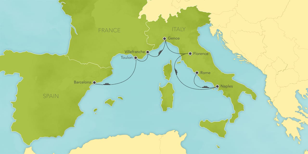 Interactive map of the Mediterranean, showing a summary of each day's activities.