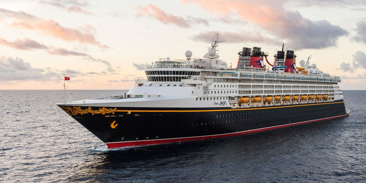 The Disney Magic cruise ship cruising across the sea