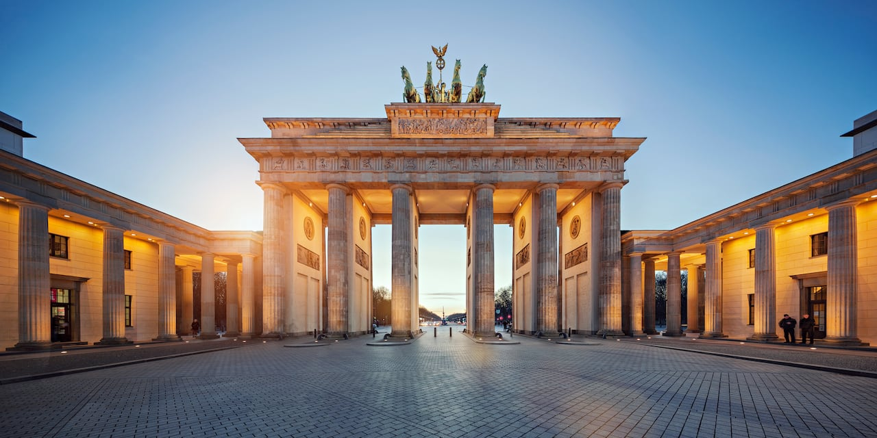 The Brandenburg Gate with 4 horse statues atop the main gateway in Berlin, Germany