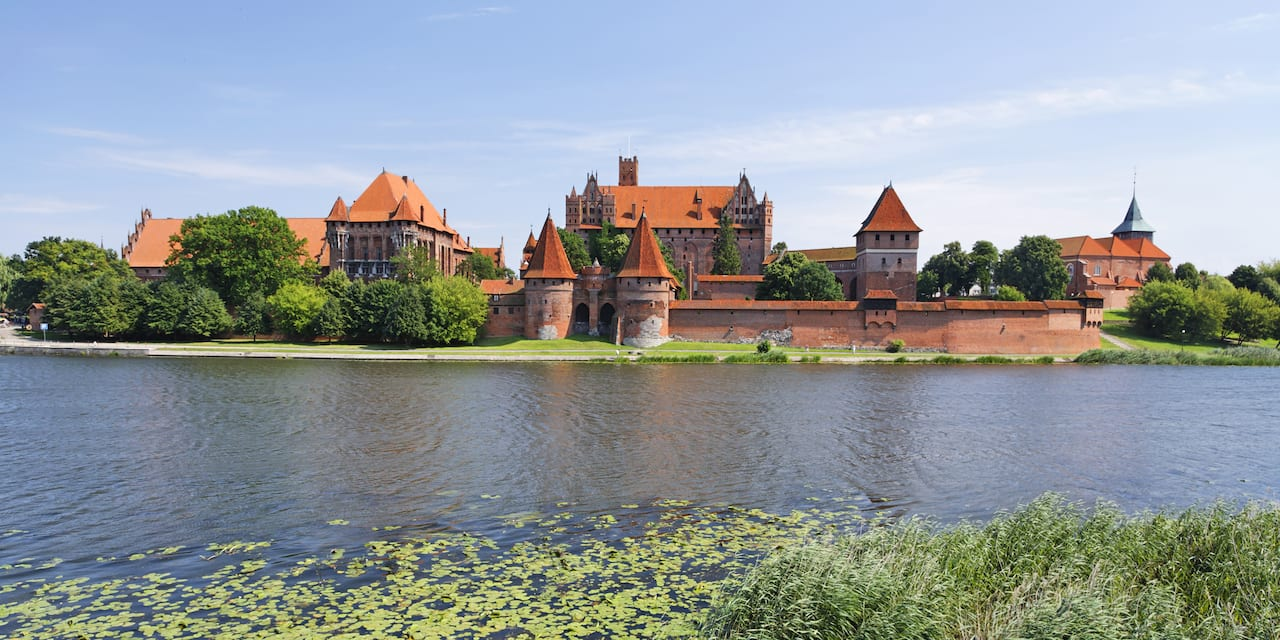 Malbork Castle from across the Nogat River in Gdynia, Poland