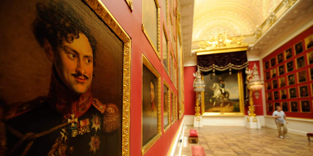 Paintings line the walls at the Hermitage Museum