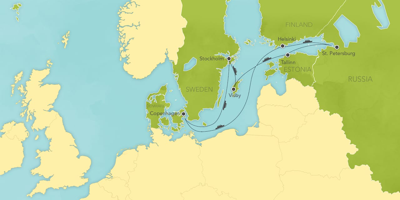 Interactive map ofNorthern Europe, showing a summary of each day's activities.