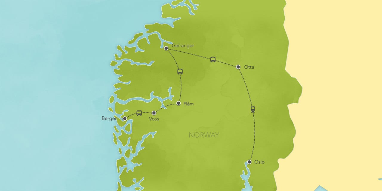 Interactive map ofNorway, showing a summary of each day's activities.
