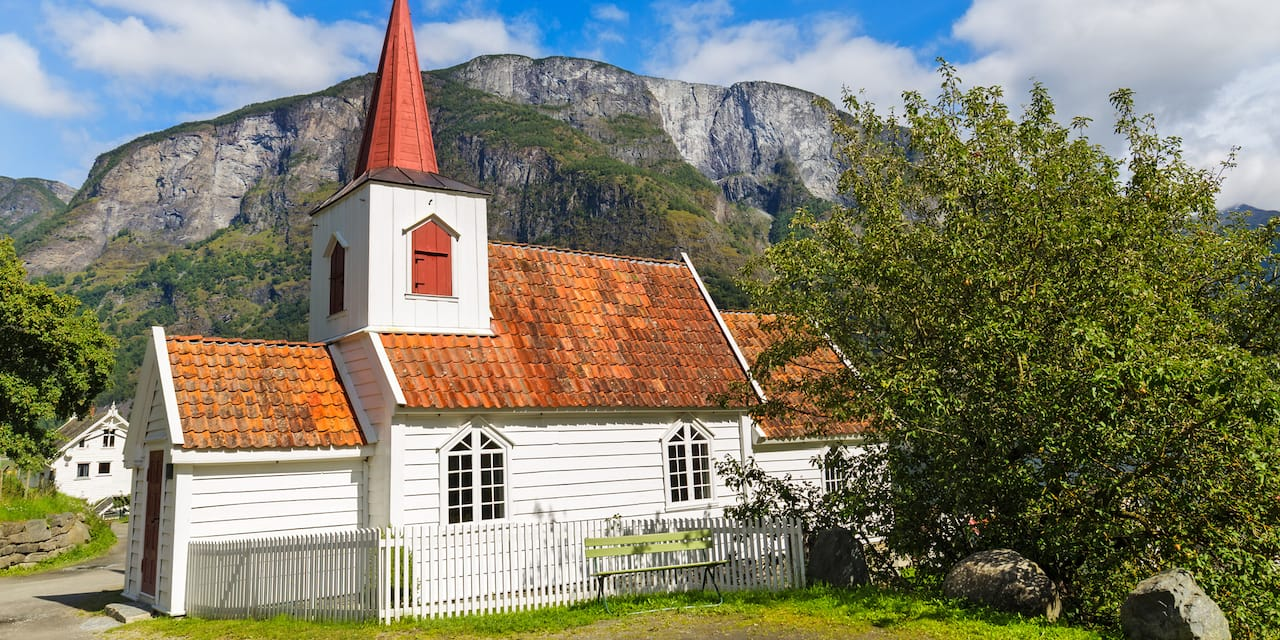 Stave church with red roof