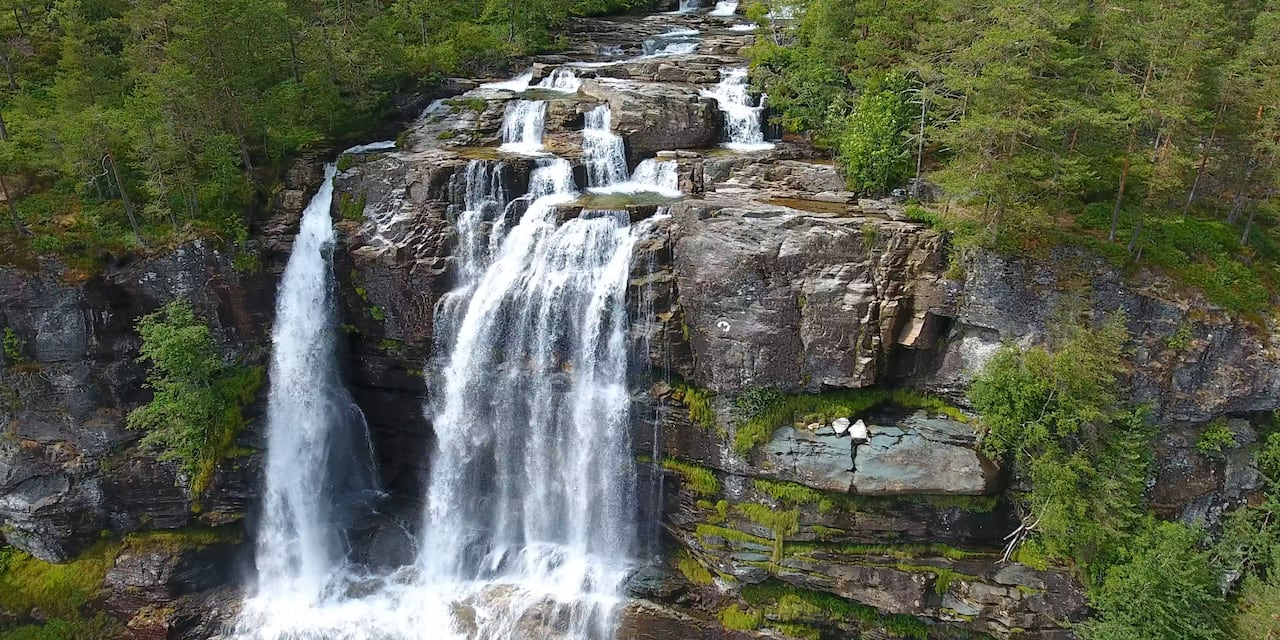 Water cascading over rocks into a waterfall