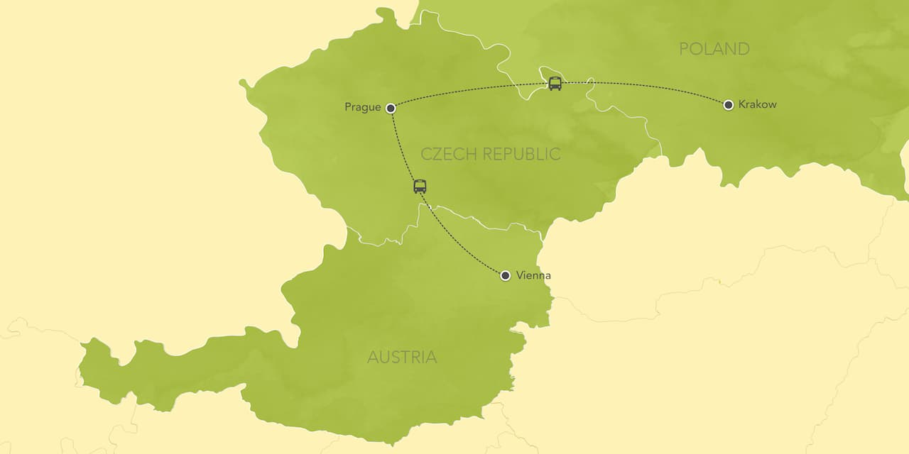 Interactive map of Austria and Czech Republic, showing a summary of each day's activities.