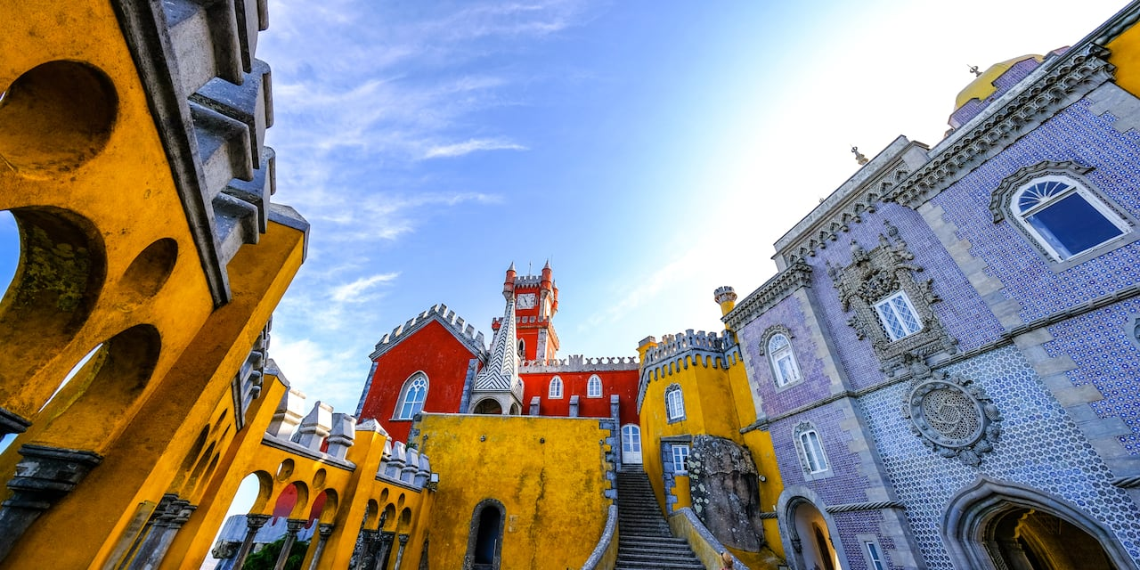 A view of the eclectic styles of Pena Palace in Lisbon, Portugal