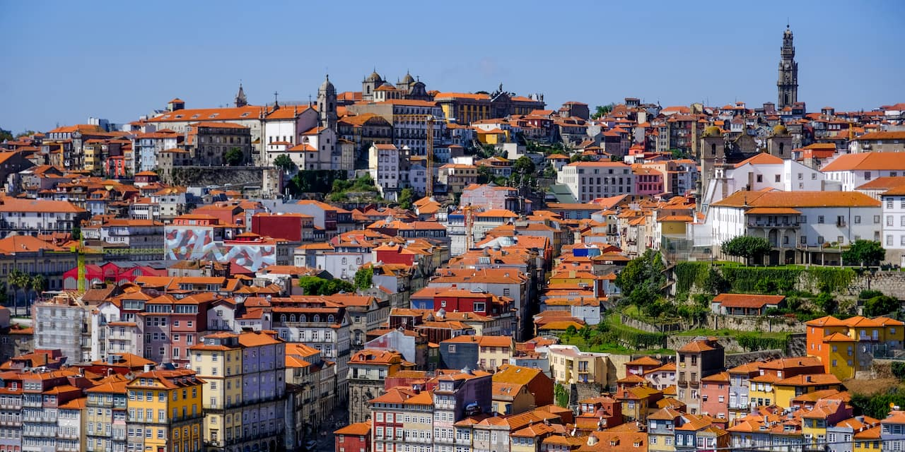 An aerial view of the hillside town of Porto, Portugal