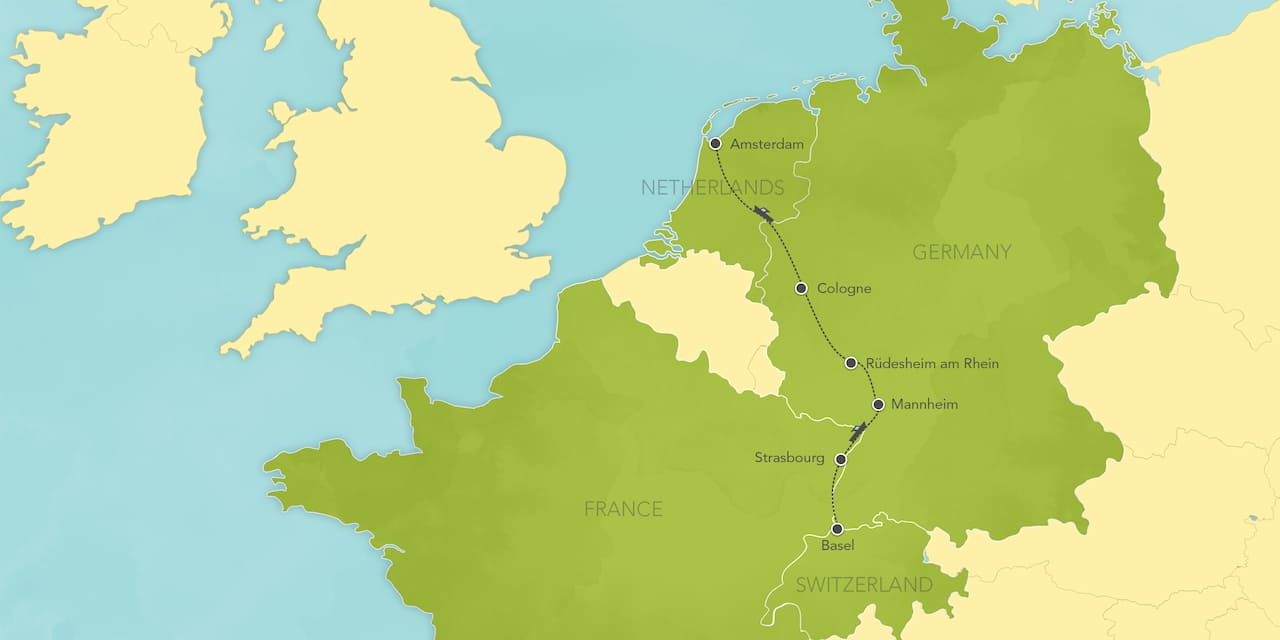 Interactive map of the Rhine River, showing a summary of each day's activities.