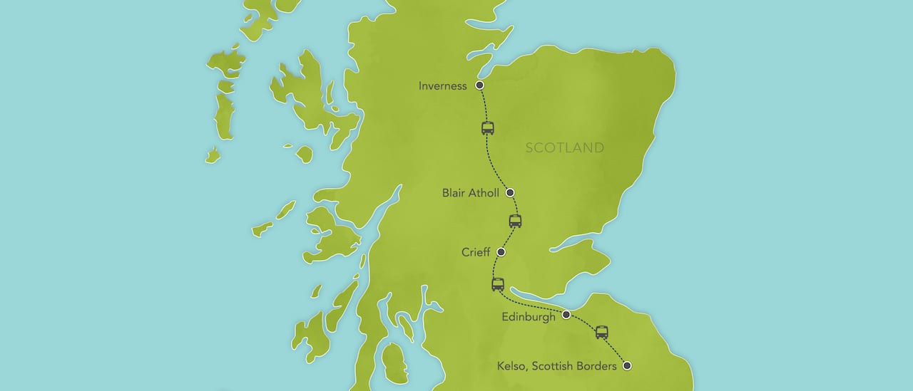 Interactive map ofScotland, showing a summary of each day's activities.