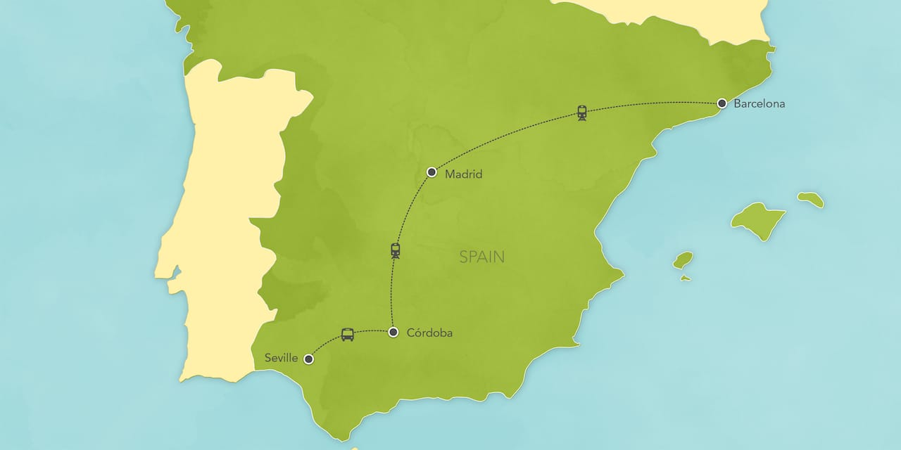Interactive map ofSpain, showing a summary of each day's activities.