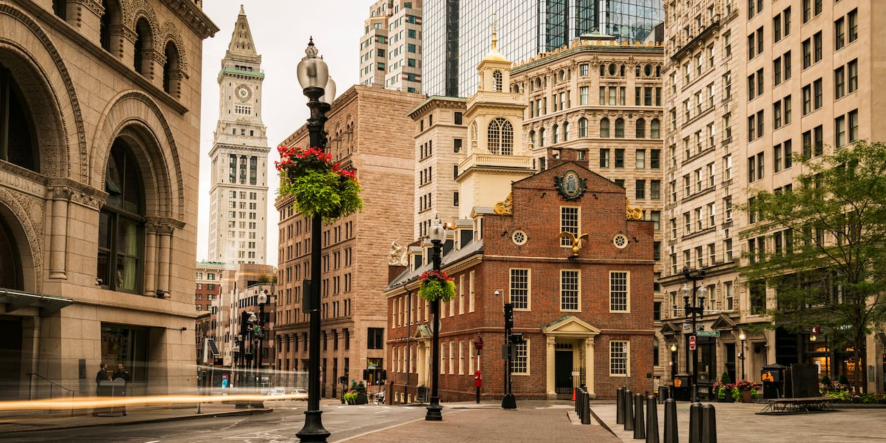 The Old State House in Boston's North End surrounded by tall buildings