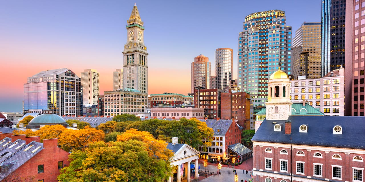 Aerial view of Faneuil Hall with the Boston skyline