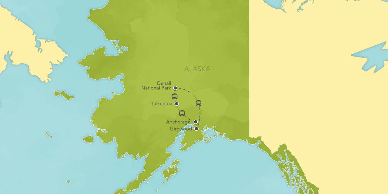 Interactive map of Alaska, showing a summary of each day's activities.