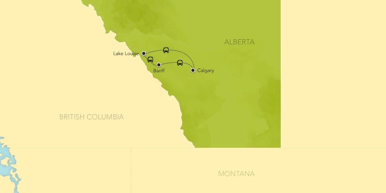 Interactive map of the Canadian Rockies, showing a summary of each day's activities.