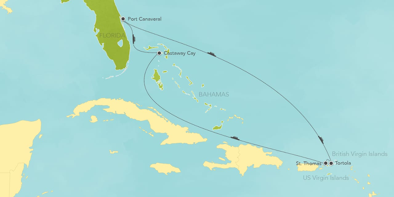 Interactive map ofthe Eastern Caribbean, showing a summary of each day's activities.