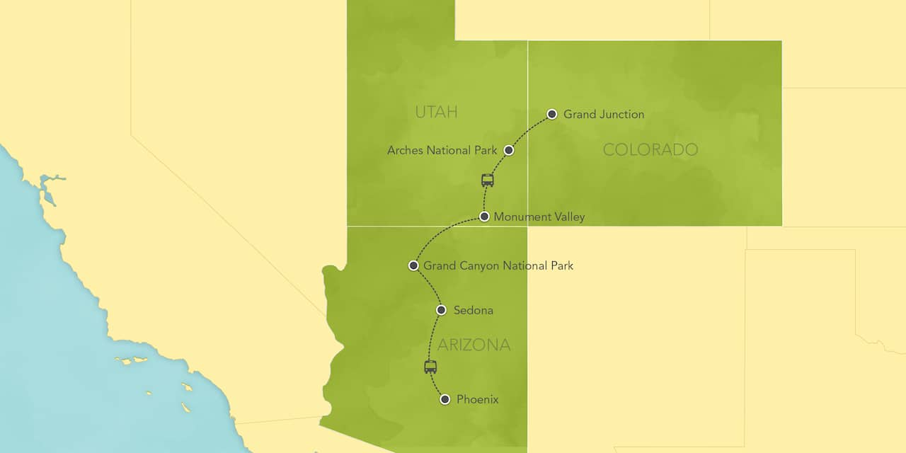 Interactive map ofArizona and Utah, showing a summary of each day's activities.