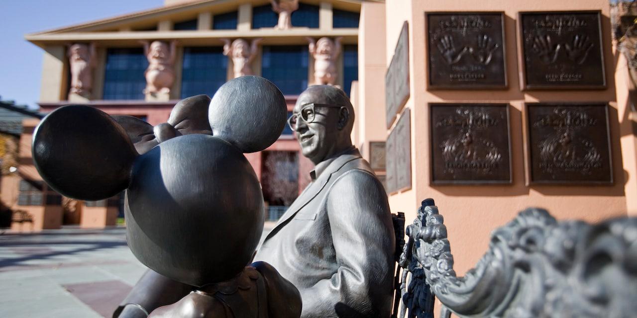 Walt and Minnie statues in Legends Plaza at Walt Disney Studios