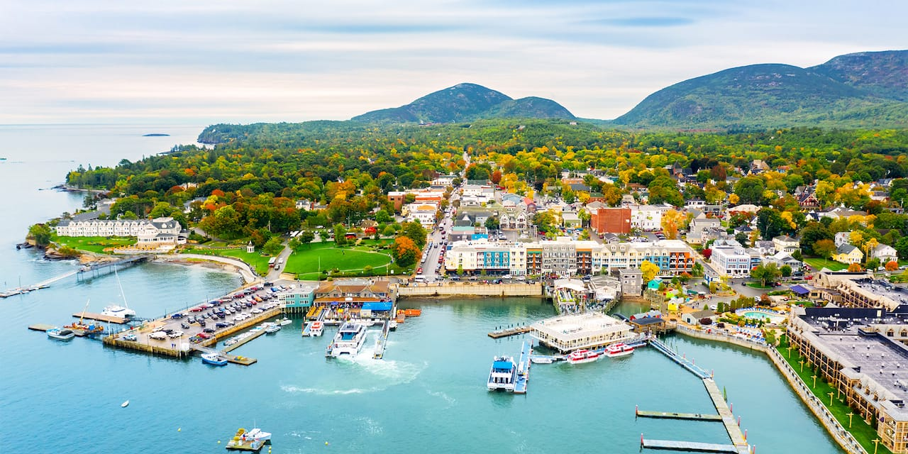 An aerial view of the town and waterfront area of Bar Harbor, Maine