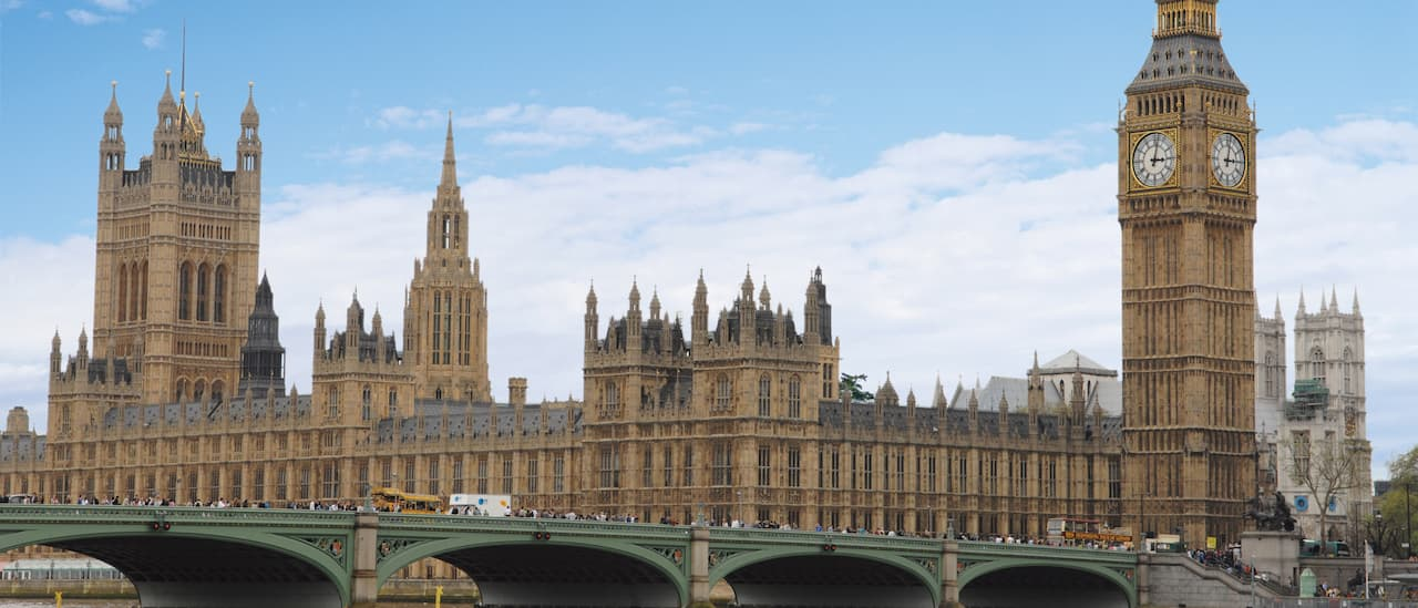 Big Ben and the Palace of Westminster on the Thames River