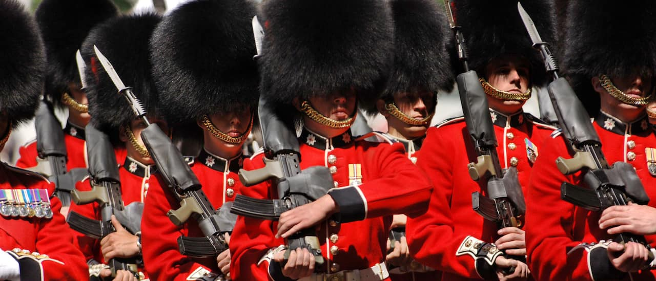 London's Beefeater Guards practice their drill