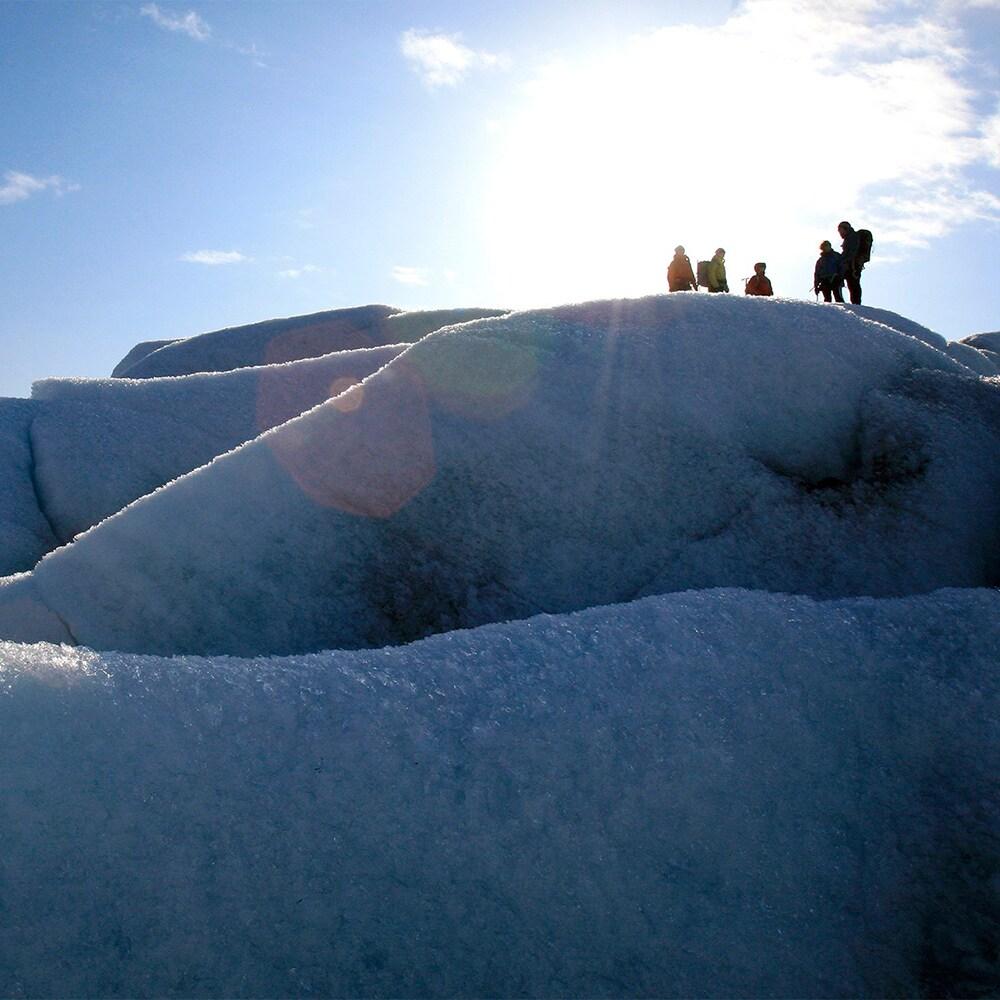 Several Adventurers are high atop a glacier during a glacier hike