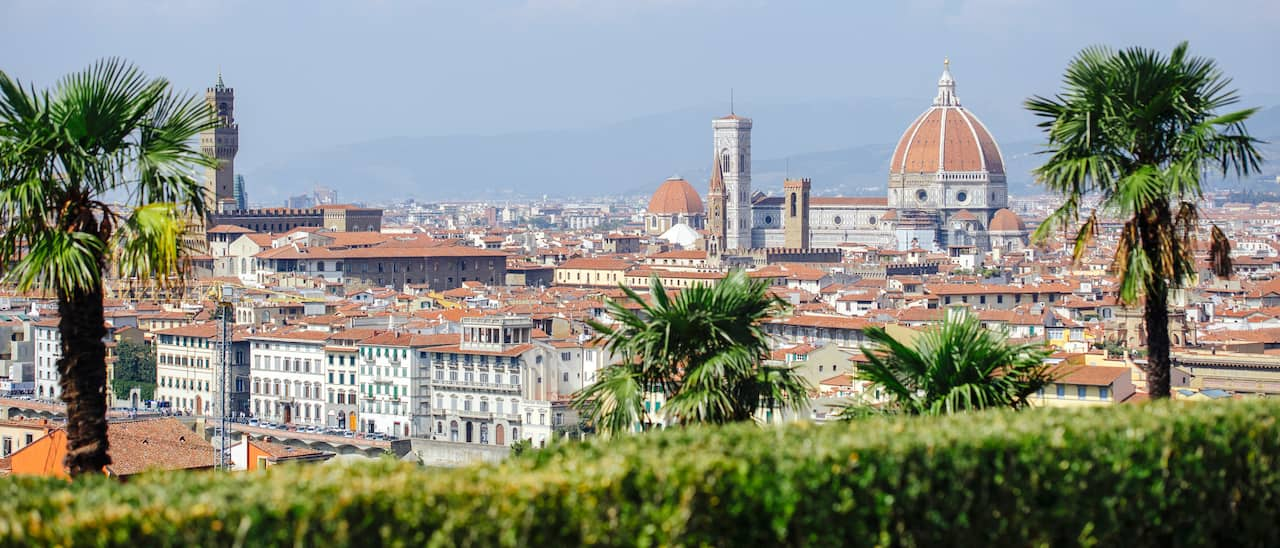 A panoramic shot of Florence, Italy that includes the Duomo and bell tower