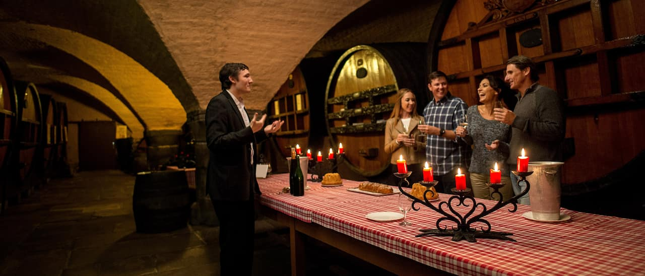2 couples wine tasting in a winery and talking to a vintner
