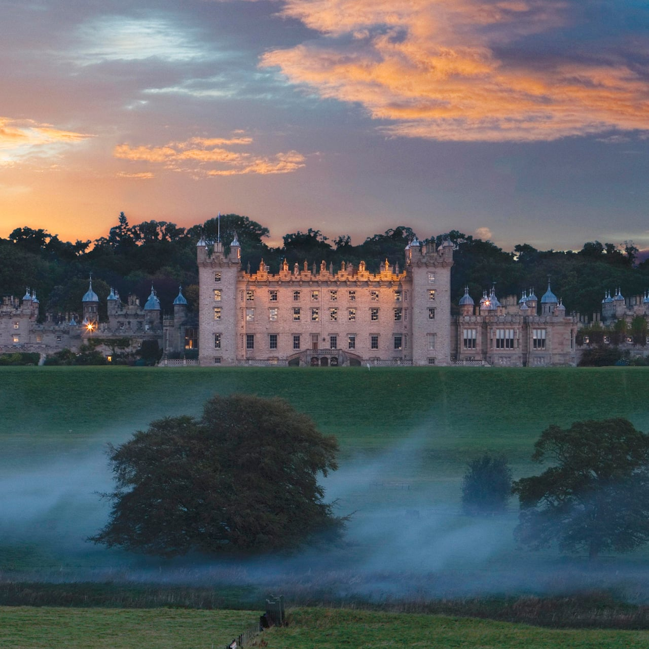 The majestic Floors Castle sits perched atop a grassy plateau